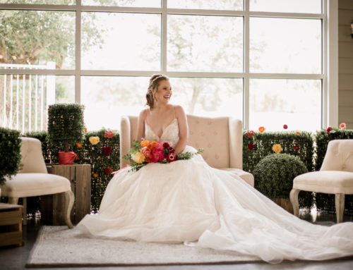 Bryan College Station Texas Wedding Inspiration {Colorful wedding, greenery wall wedding, modern wedding, ombre bouquet}